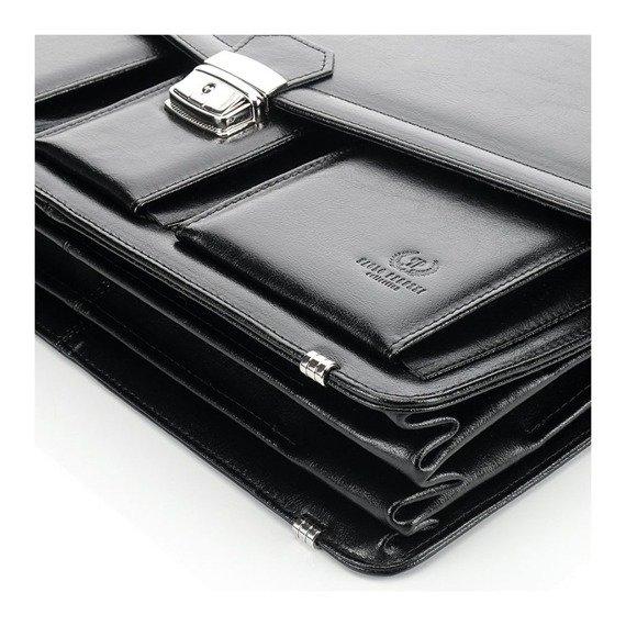 Skórzana teczka aktówka męska na laptopa PAOLO PERUZZI GA162 czarna
