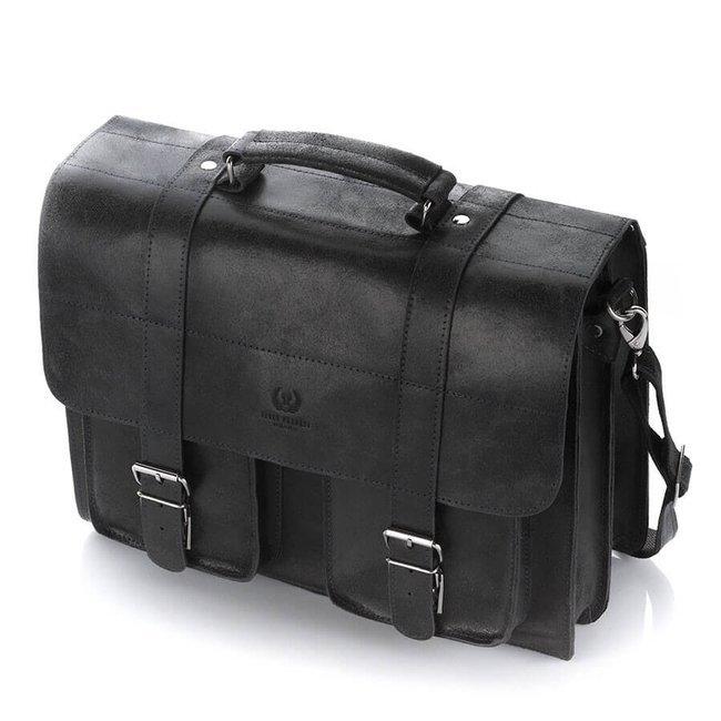 Skórzana teczka torba męska vintage czarna PAOLO PERUZZI GA318