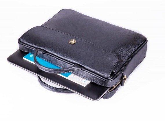 Skórzana torba aktówka damska na laptopa FELICE czarna