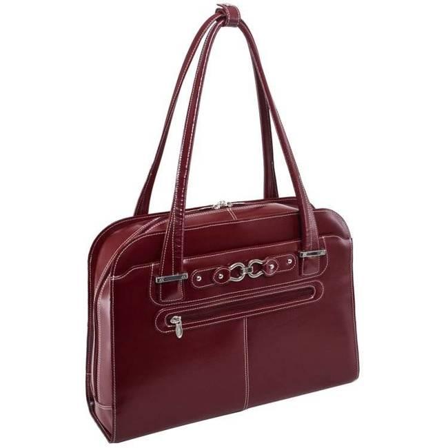 "Skórzana torba damska na laptopa 15,4"" Mcklein Oak Grove czerwona"