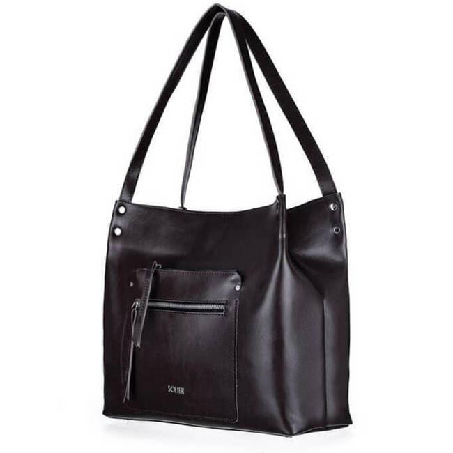 Skórzana torba damska shopper bag czarna Solier