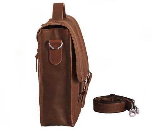 Skórzana torba męska BRODRENE BL11XL jasnobrązowa