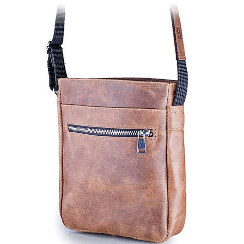Skórzana torba męska listonoszka BRODRENE BL08 szara