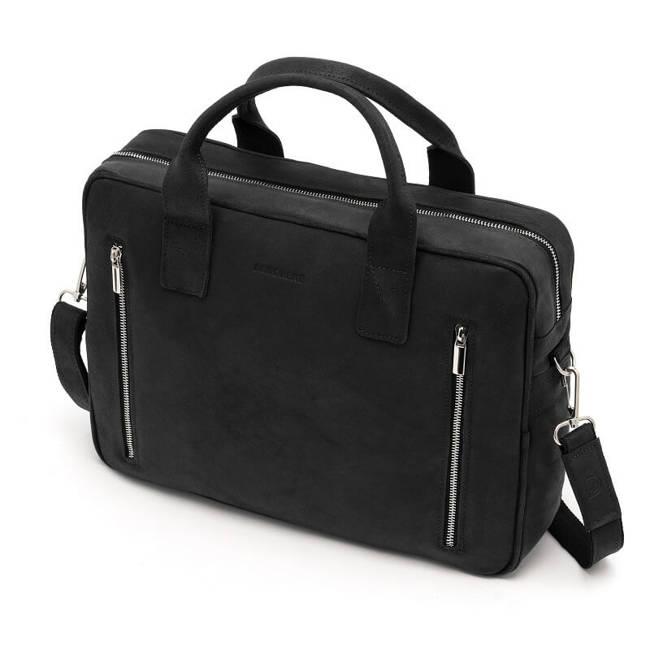 Skórzana torba męska na laptop BRODRENE BL02 czarna z czerwoną podszewką