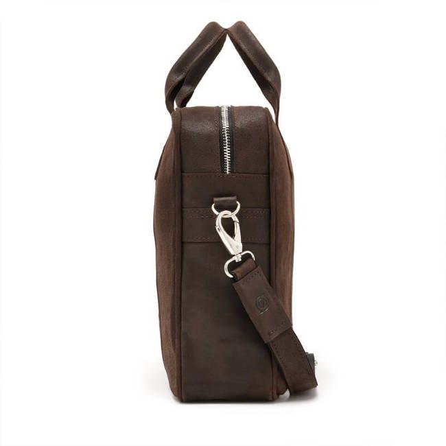 Skórzana torba męska na laptopa BRODRENE BL01 ciemnobrązowa