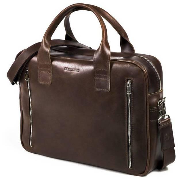Skórzana torba męska na laptopa BRODRENE R02 ciemnobrązowa