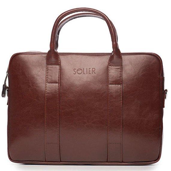 Skórzana torba męska na laptopa Solier burgundowa
