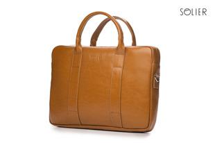 Skórzana torba męska na laptopa Solier jasnobrązowa