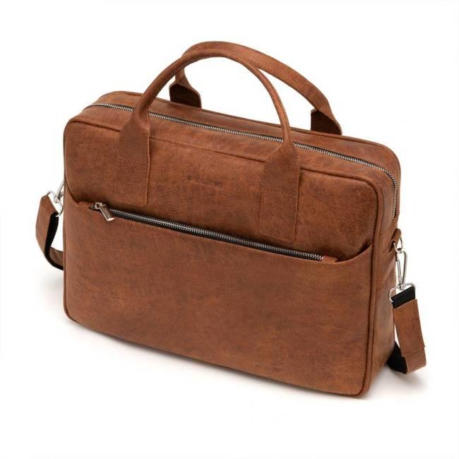 Skórzana torba męska na ramię, laptop Brodrene BL12 jasny brąz