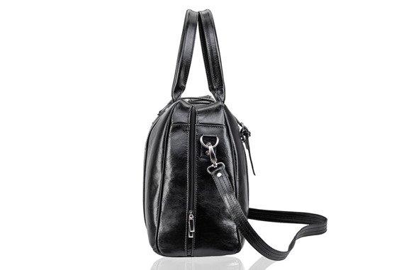 Skórzana torba męska podróżna, weekendowa Solier czarna