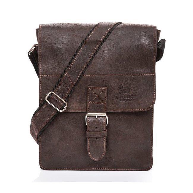 Skórzana torba męska vintage Paolo Peruzzi GA322 c.brązowa