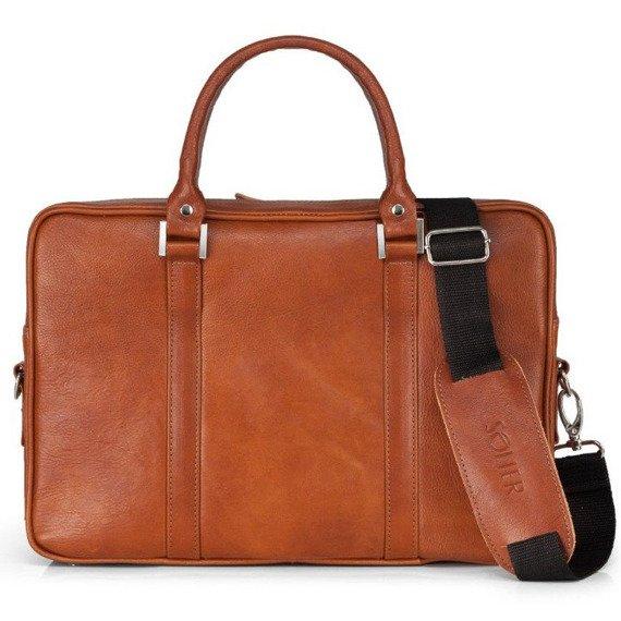 Skórzana torba na laptop Solier SL25 brązowy vintage