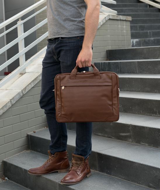 """Skórzana torba na laptopa 17"""" Mcklein Bridgeport 15474L brązowa"""