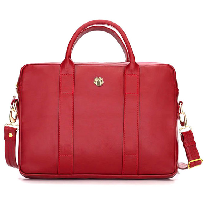 Skórzana torba na laptopa Felice Gold FG04 czerwona
