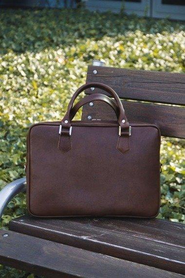Skórzana torba na laptopa Solier SL22 ciemny brąz