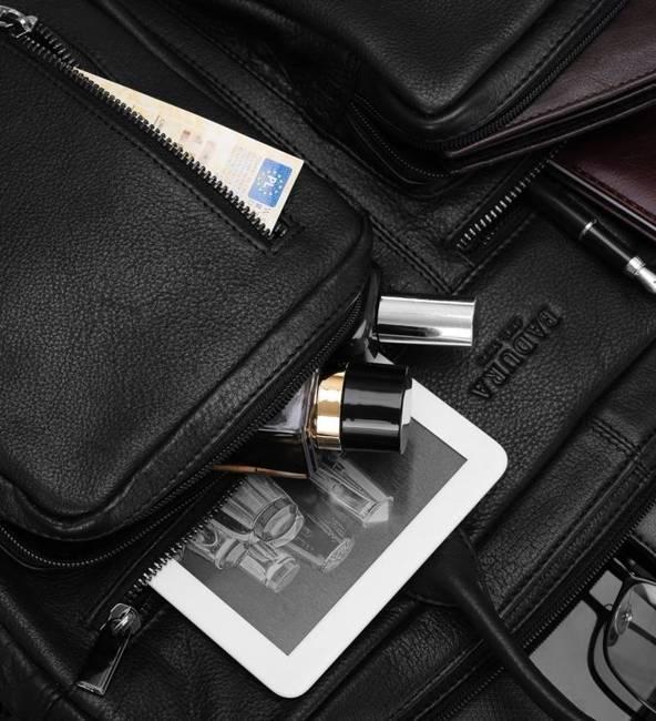 Skórzana torba na laptopa czarna Badura B-LAP-31702-NDM-6581