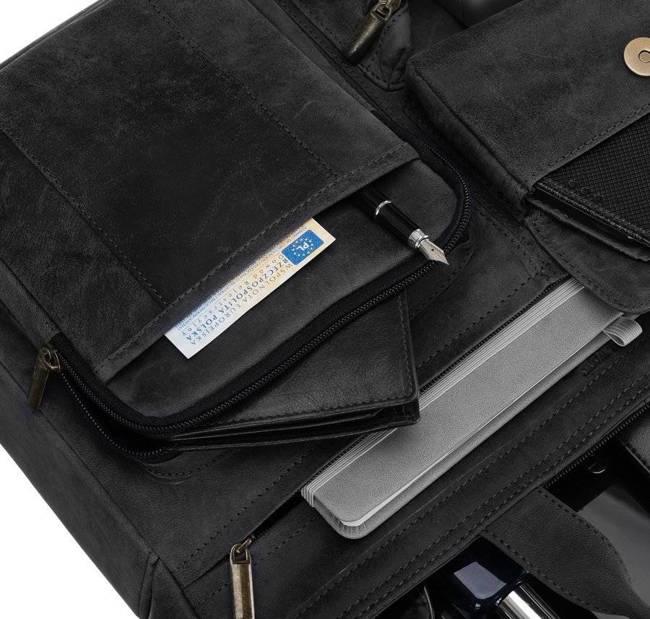 Skórzana torba na laptopa szara Badura LAP-15604-TGH-7465 B