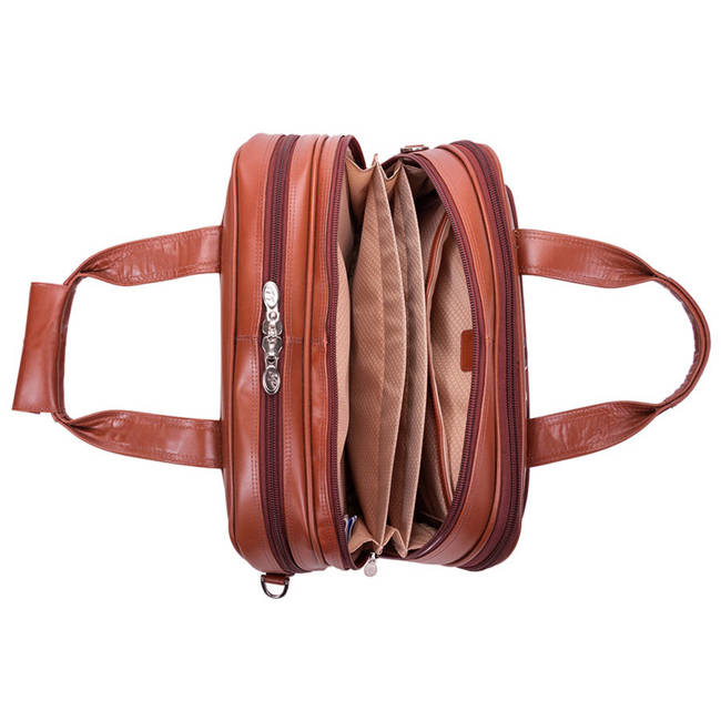 """Skórzana torba podróżna na laptopa 17"""" z odpinanym wózkiem Mcklein Damen brązowa"""