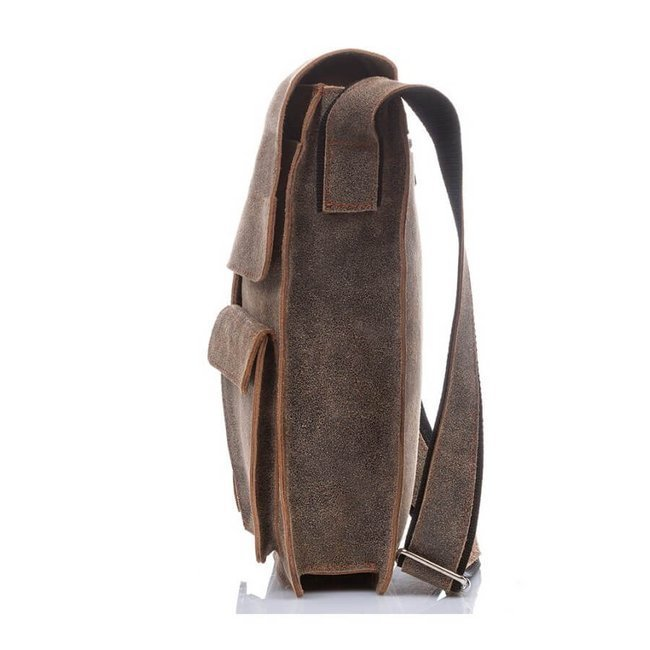 Skórzana torba raportówka Paolo Peruzzi GA299 szara