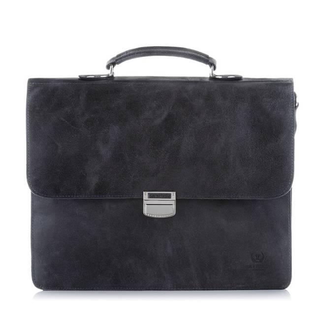 Skórzana torba teczka męska vintage Paolo Peruzzi S-04 czarna