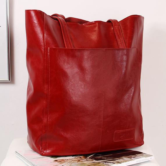Skórzana torebka damska DAN-A T376 czerwona