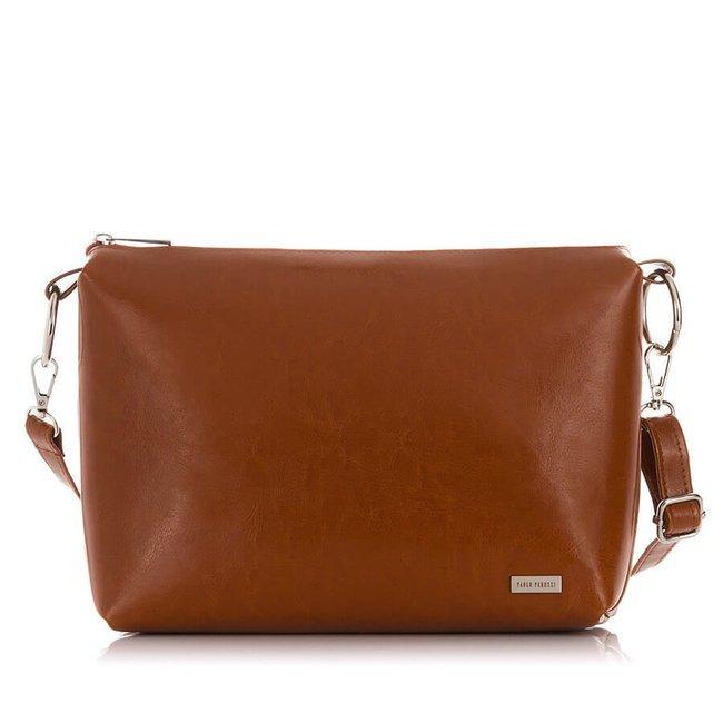 Skórzana torebka shopper bag 2w1 Paolo Peruzzi Z-26-CG koniakowa