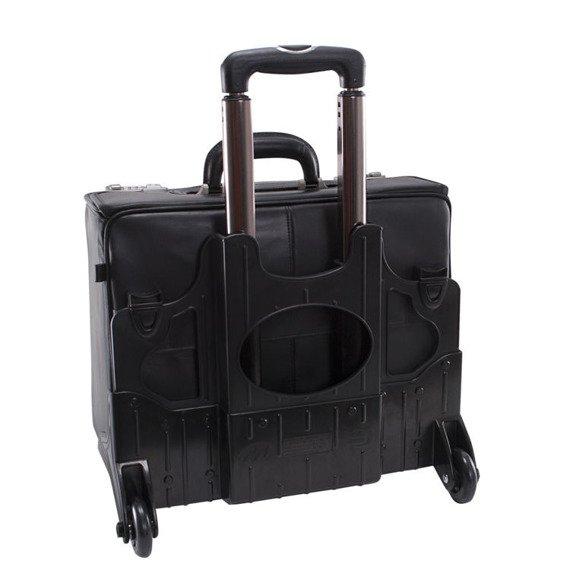 """Skórzana walizka podróżna na laptopa z odpinanym wózkiem 17"""" Mcklein Sheridan 84665"""