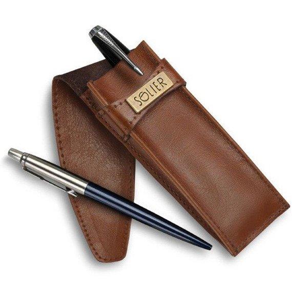 Skórzane etui na długopisy, pióro SOLIER SA12 brązowe vintage