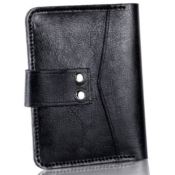 Skórzany cienki męski portfel z miejscem na monety SOLIER SW17 czarny