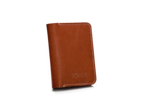 Skórzany cienki portfel męski z bilonówką SOLIER SW16 SLIM brąz