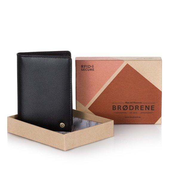 Skórzany cienki portfel męski z ochroną RFID Brodrene 5574 c.brązowy