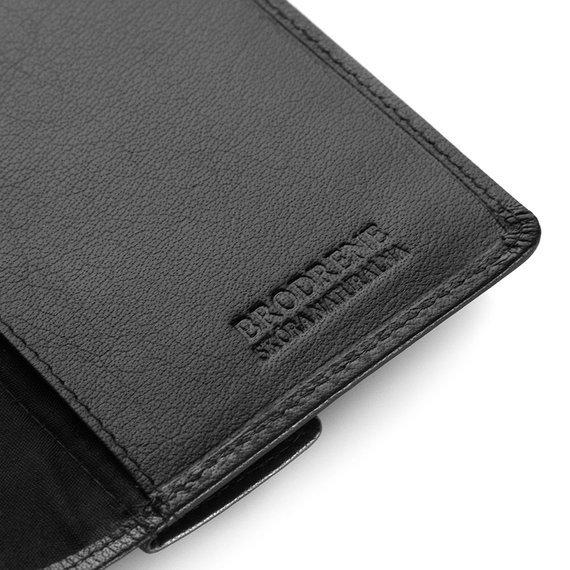 Skórzany cienki portfel męski z ochroną RFID Brodrene 5575 c.brązowy
