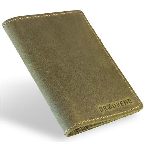 Skórzany cienki portfel slim wallet BRODRENE SW01 oliwkowy