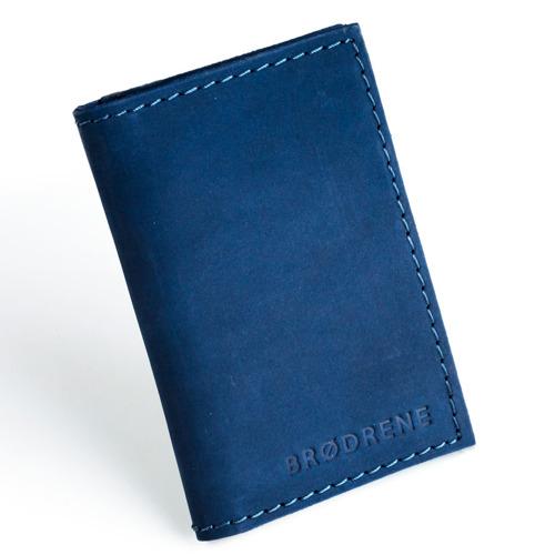 Skórzany cienki portfel slim wallet BRODRENE SW03 granatowy