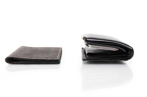 Skórzany cienki portfel slim wallet BRODRENE SW03 jasnobrązowy
