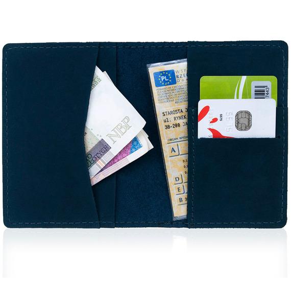 Skórzany cienki portfel slim wallet BRODRENE SW05 granatowy