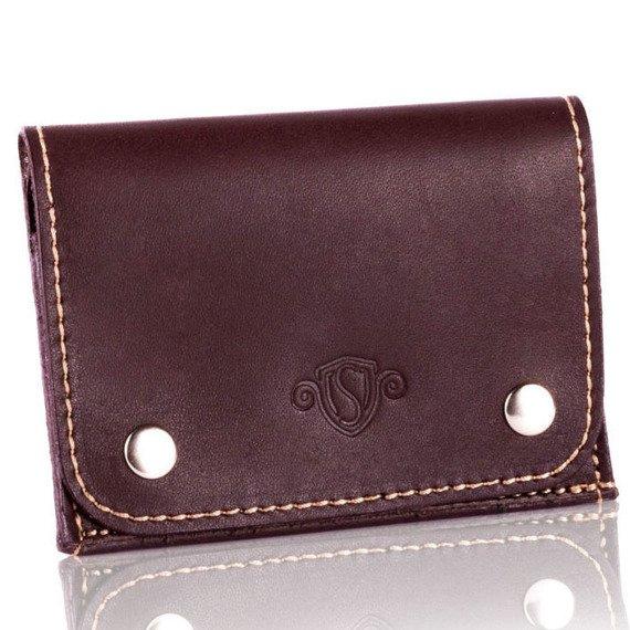 Skórzany cienki portfel wizytownik Solier SW18 brązowy vintage