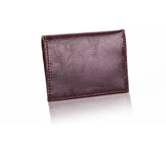 Skórzany cienki portfel wizytownik Solier SW18 ciemny brązowy