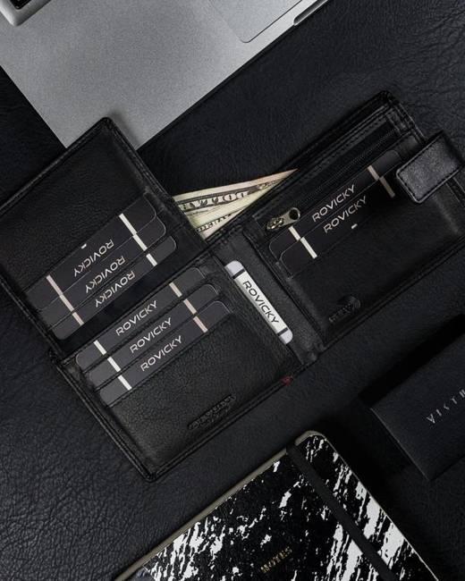 Skórzany czarny portfel męski RFID Pierre Andreus N30257