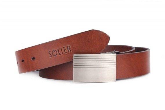 Skórzany elegancki pasek męski SOLIER SB12 ciemny brąz 100 cm