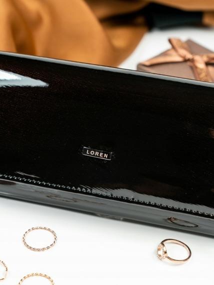 Skórzany lakierowany portfel damski czarny Loren 102-SH