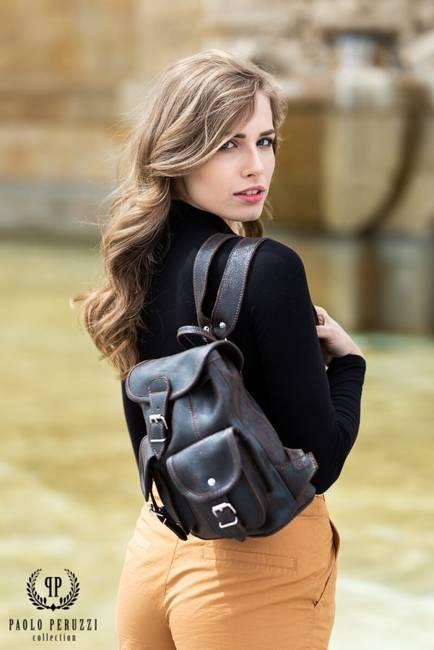 Skórzany plecak damski vintage szary PAOLO PERUZZI S-11-LB
