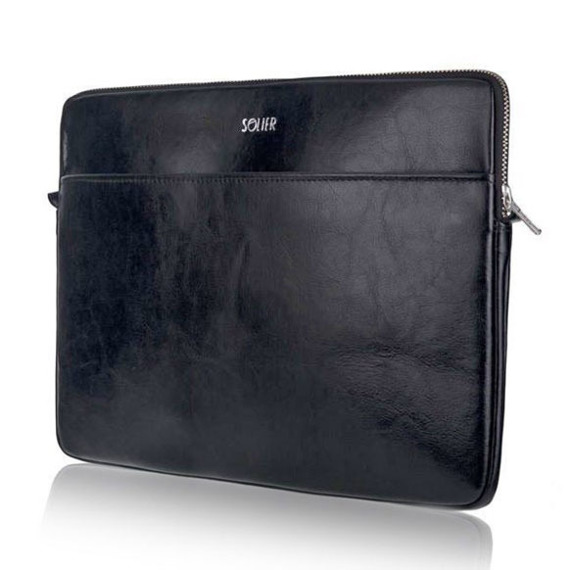 Skórzany pokrowiec etui na laptopa 13 cali Solier SA24 Czarny