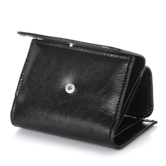 Skórzany portfel damski Brodrene A-07 czarny