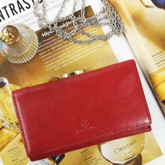 Skórzany portfel damski KRENIG Classic 12022 czerwony w pudełku