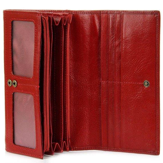 Skórzany portfel damski KRENIG Classic 12087 czerwony w pudełku