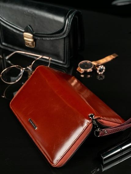 Skórzany portfel damski brązowy Lorenti 76119