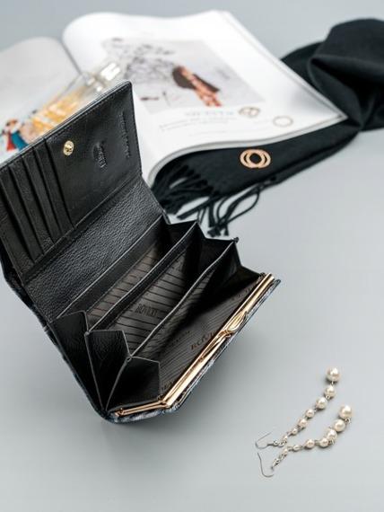 Skórzany portfel damski lakierowany RFID Rovicky