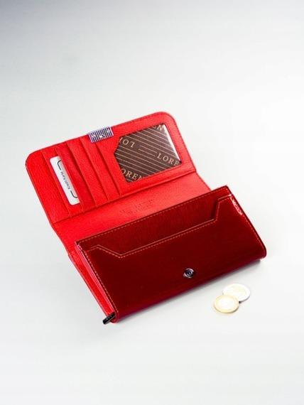 Skórzany portfel damski lakierowany czerwony Lorenti 76110