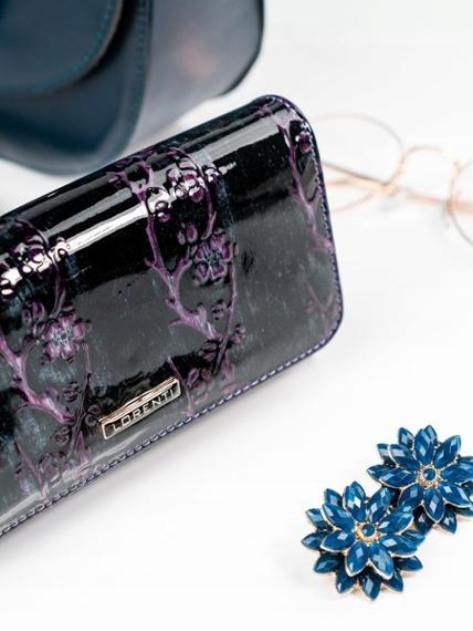 Skórzany portfel damski lakierowany fioletowy Lorenti